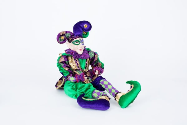 "22"" Sitting Jester w Elegant Clothes and Mask"