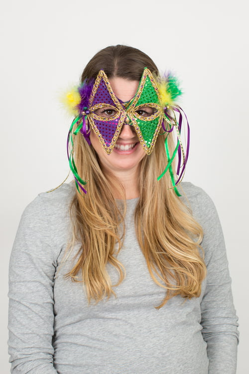 "8"" X 6.5"" Mardi Gras Fabric Mask"
