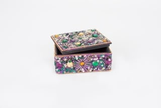 3X4X1.4 Purple Jeweled Trinket Box