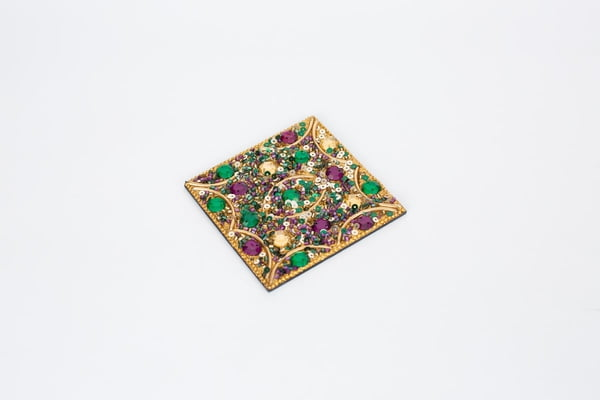 "4"" Square Jeweled Set of 4 Table Coasters"