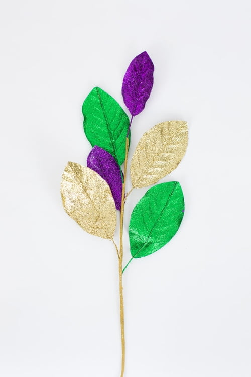 "24"" Mardi Gras Glittered Magnolia Leaf Spray"