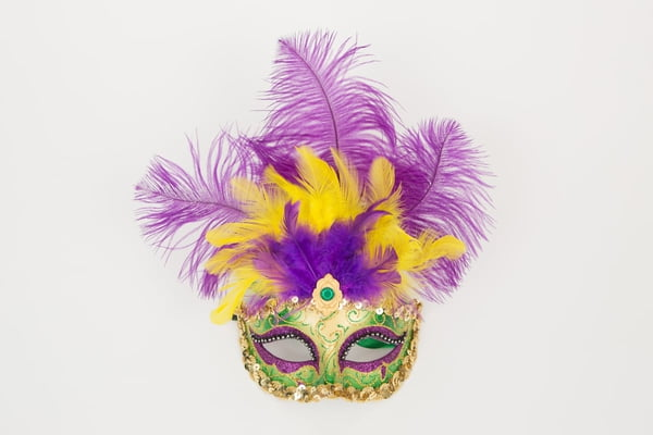 "7"" x 12"" Green Colombina Mask w Feathers"