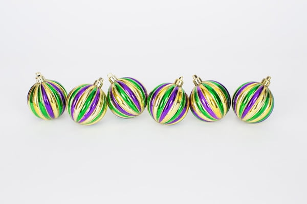 "2.5"" Vertical Stripe Bx of Mardi Gras Ornaments"
