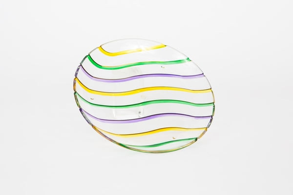 "11"" MS Round Plate Acrylic Three Colors Wave Design"