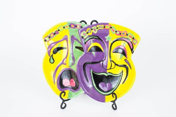 "12"" X 6.25"" Comedy/Tragedy Mask Platter"