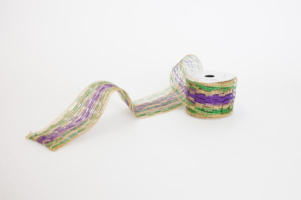 "2.75"" x 10 YD Mardi Gras Mesh Stretch Ribbon"