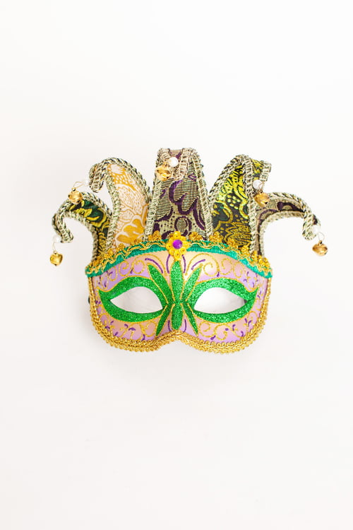 "6"" X 4.25"" HALF MASK WITH BROCADE FABRIC HORNS"