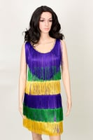 Mardi Gras Party Dress W/Fringe Front and Back