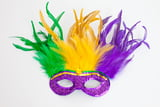 "12"" X 12"" MARDI GRAS FEATHER MASK"