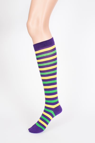 Mardi Gras Striped Cotton Knee Socks