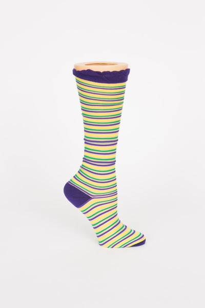 Sheer Knee Socks w PGG Horizontal Stripes