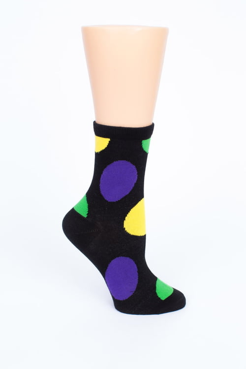 Black Socks w Mardi Gras Dots
