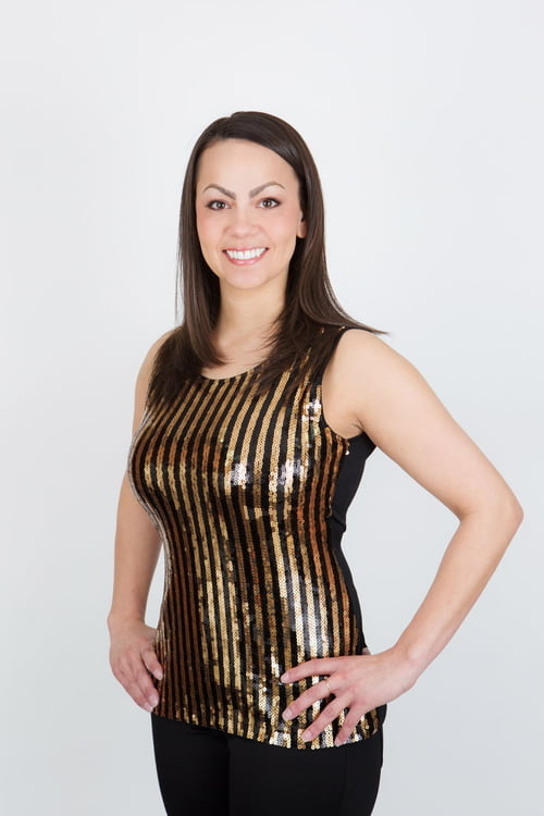 Black/Gold Party Singlet Top