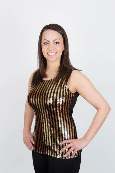 Black/Gold Party Singlet Top XL