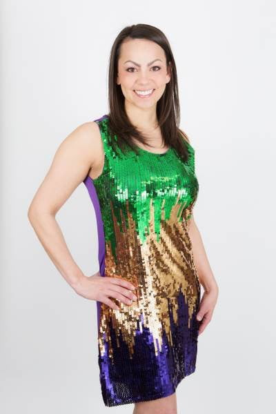 Mardi Gras Sequin Splash Dress in Large and XL Only