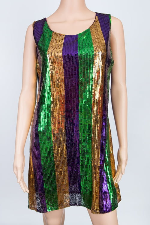 Mardi Gras Sequin Stripe Dress L