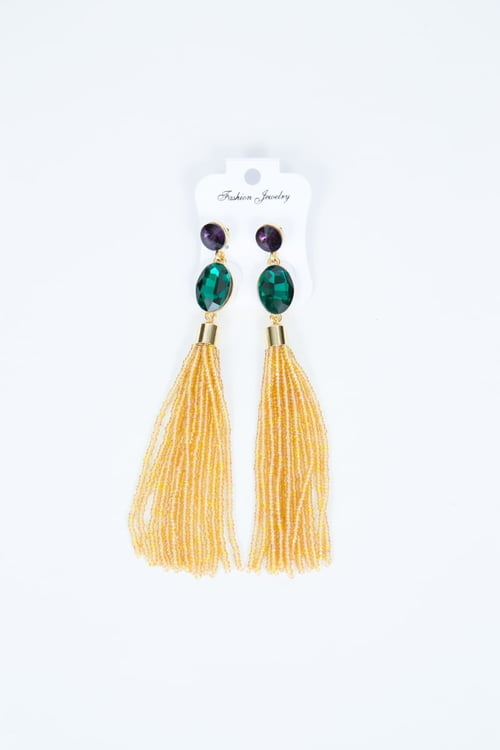 Stone/Bead Tassel Earrings