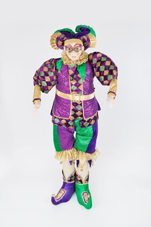 "48"" Standing Jester in Elegant Clothes w Glitter Face"