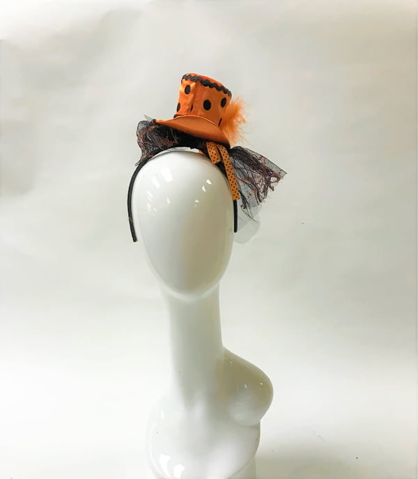 Orange & Black Circle Top Hat Hairband
