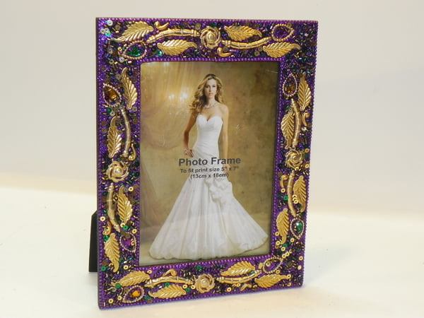 "4"" X 6"" Purple Frame w Gold Leaf"