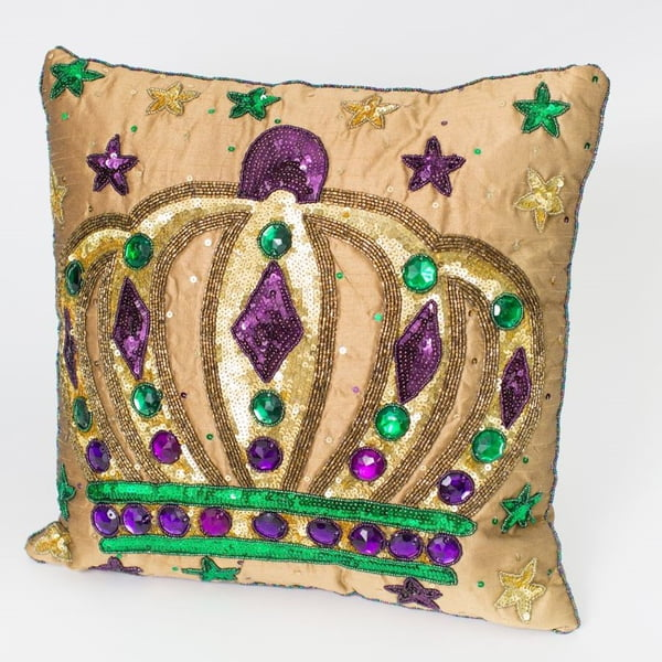 "14"" x 14Sq Gold Tones Pillow w Crown"