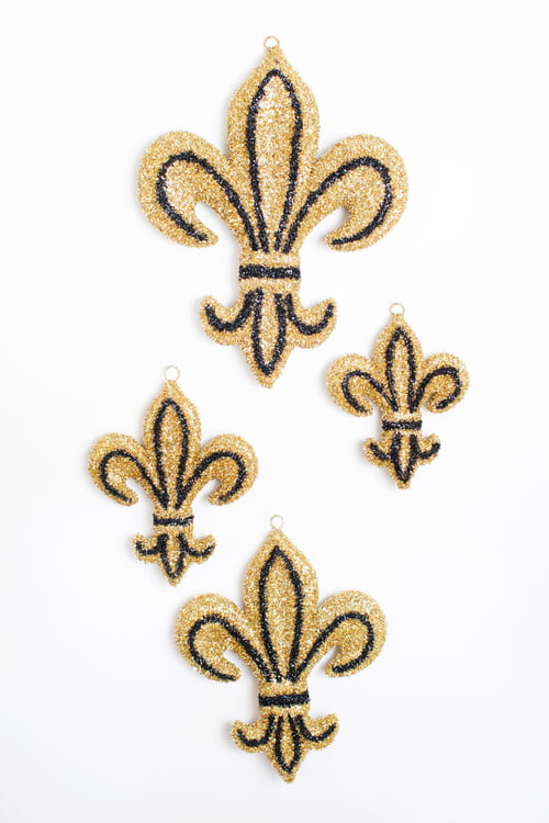 "6"" X 8""BLACK AND GOLD TINSEL FLEUR DE LIS"