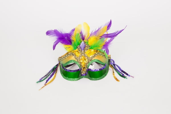 "7"" Mardi Gras Mask w Feathers"