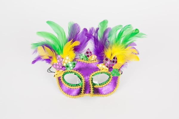 Mardi Gras Mask w feathers