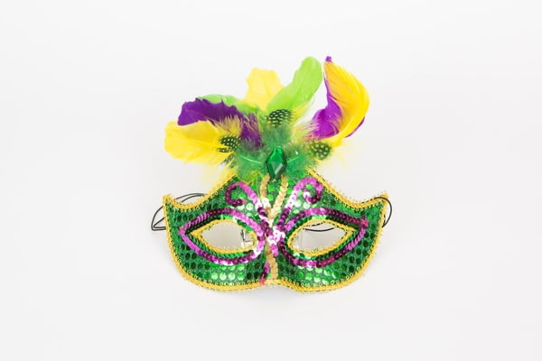 Green Sequin Mask w Feathers