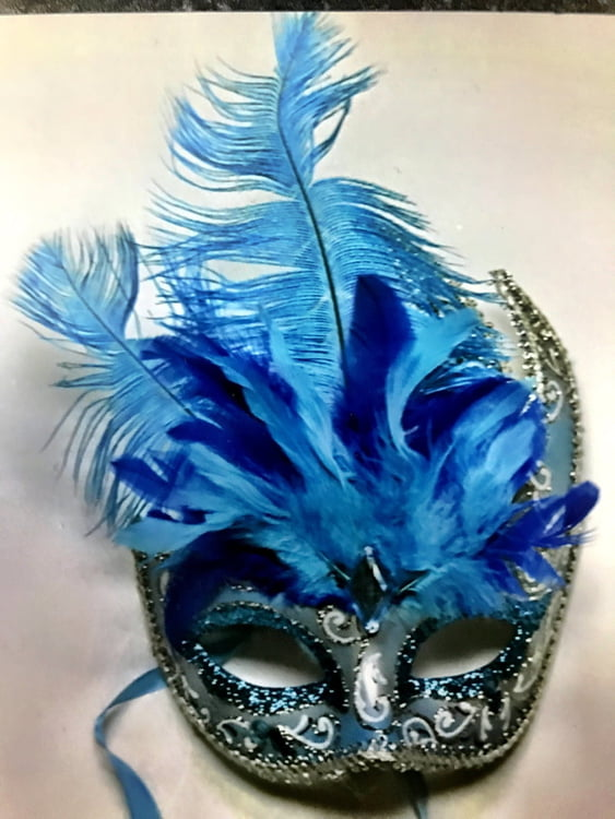 Blue/Silver Feather Mask
