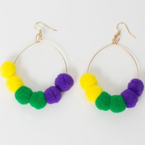 "3"" Pom Pom Hoop Earrings"