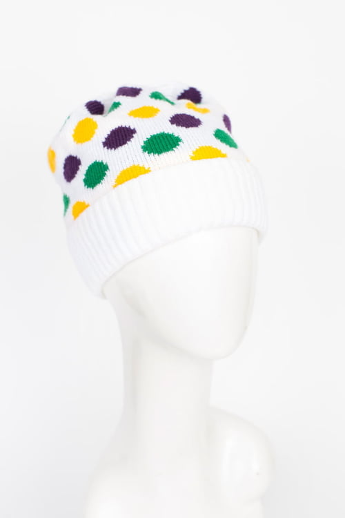 White Knit Hat w PGG Dots