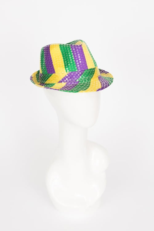 PGG Striped Hat w Clear Sequins