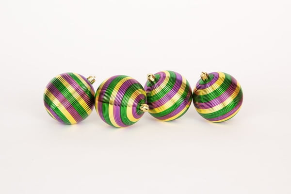 "3.25"" box of 4 Stripped Mardi Gras Ornaments"