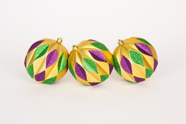 "BX of 3 4.5"" Mardi Gras Ornaments"