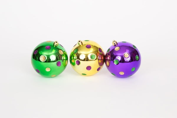 Bx of 3 assorted Mardi Gras Ornaments with Dots