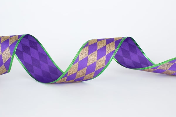 "2.5"" x 10 yd Wired Purple Green Gold Harlequin Ribbon"