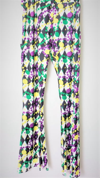 Diamond and Dot Pattern Adult Bell Bottom Legging