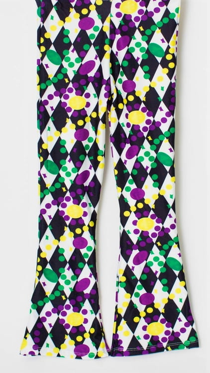 Beads on Black Leggings Adult Bell Bottoms