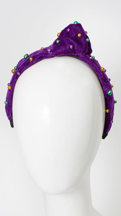 Purple Velvet Headband w Beads