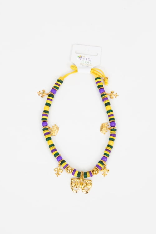Mardi Gras Wood Bead Stretch Necklace w Assorted Charms