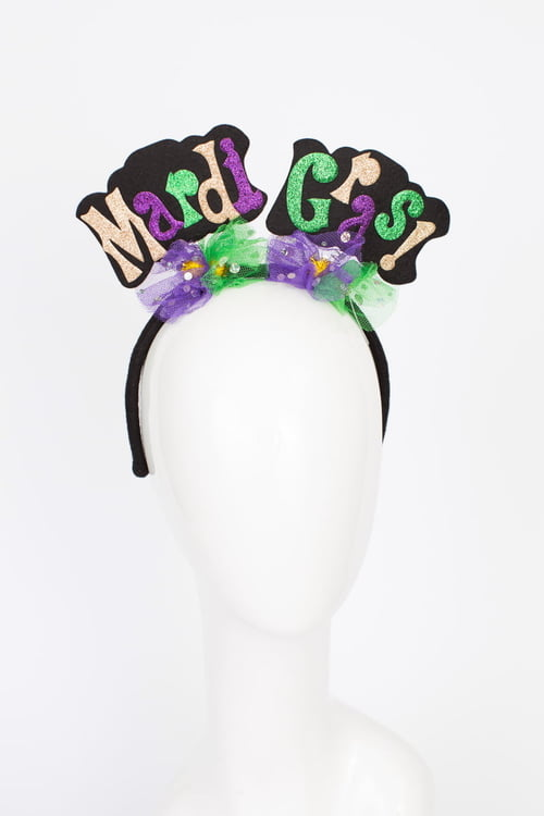 Mardi Gras Words Headband w/Netting
