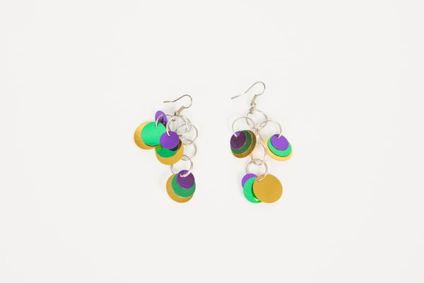 5-242 Mardi Gras Disc Earrings