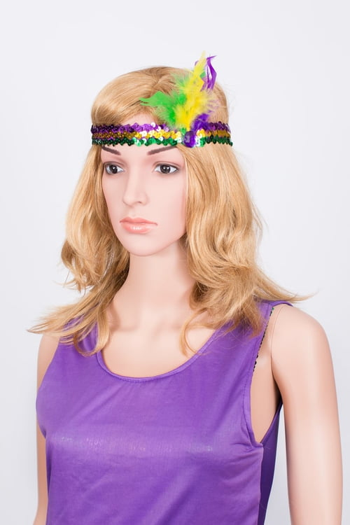 Mardi Gras Feather Sequin Headband