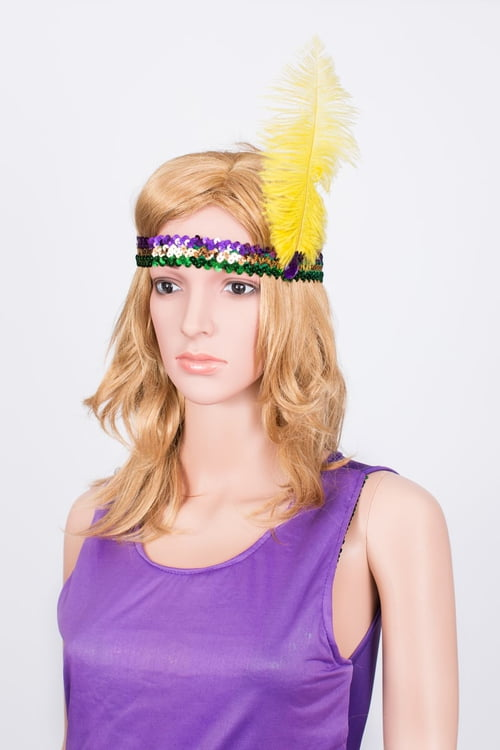 Tall Mardi Gras Feather Sequin Headband
