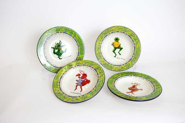 "10.5""D Set of 4 Assorted Cajun Character Round Plates"