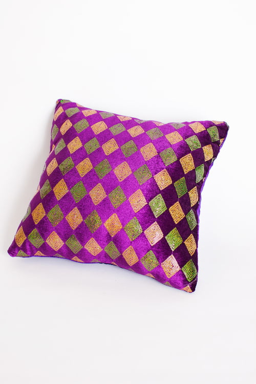 "14"" Square Mardi Gras Velvet Pillow"