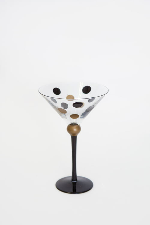 "5""D X 7.5""H Black and Gold Martini Glass St/4"