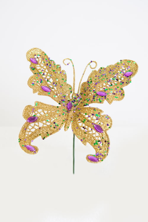 "6"" GLITTERED BUTTERFLY W JEWELS AND GLITTER"