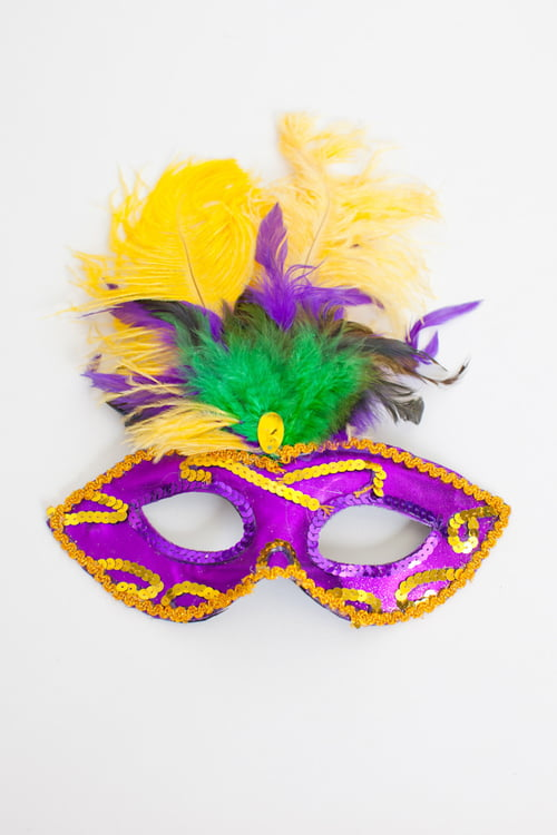 "9"" X12"" MARDI GRAS FEATHER MASK"